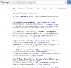 Voorbeelden van spam in Google-resultaten