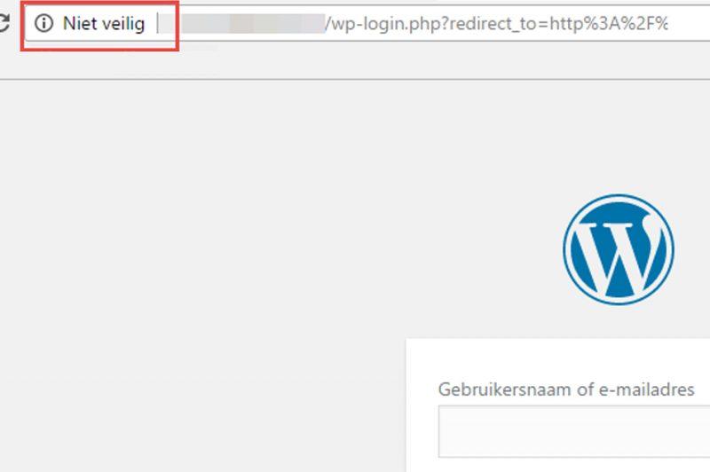 chrome 56 melding bij niet SSL: niet veilig
